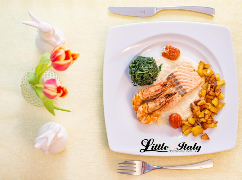 Little Italy Ostermenü 2021 - Lachsfilet und Garnelen